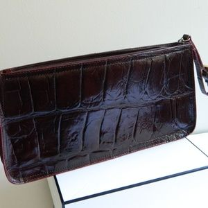 Bags - Brown Leather Clutch Crocodile Embossed Pattern